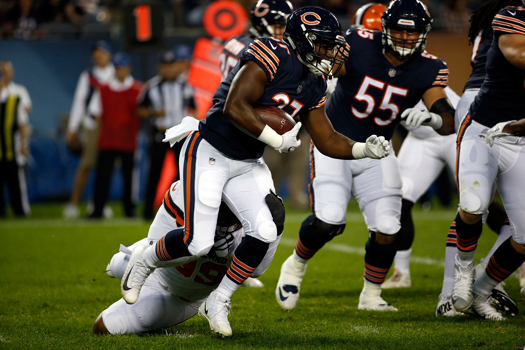 . Chicago Bears running back Josh Rounds (37) during the first half of an NFL football game against the Cleveland Browns, Thursday, Aug. 31, 2017, in Chicago. (AP Photo/Nam Y. Huh)