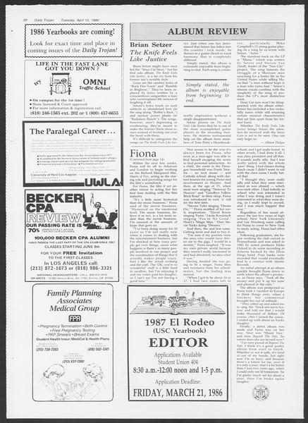 Daily Trojan, Vol. 100, No. 60, April 15, 1986