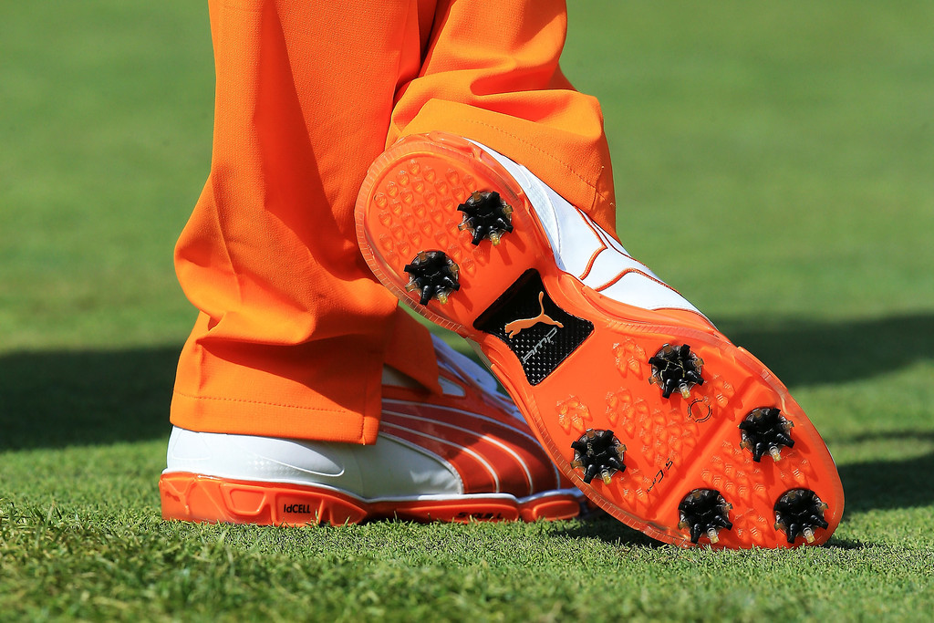 . Rickie Fowler\'s shoes are seen during the final round of the 95th PGA Championship on August 11, 2013 in Rochester, New York.  (Photo by David Cannon/Getty Images)
