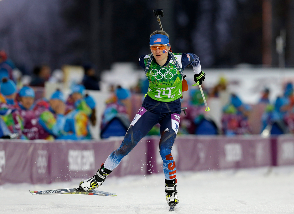 . United States\' Hannah Dreissigacker skis during the women\'s biathlon 4x6k relay at the 2014 Winter Olympics, Friday, Feb. 21, 2014, in Krasnaya Polyana, Russia. (AP Photo/Kirsty Wigglesworth)