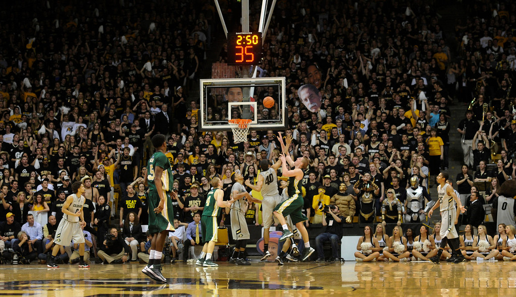 . Buffs fans set an attendance record Wednesday night. The University of Colorado men\'s basketball team defeated Colorado State University 70-61 at the Coors Events Center Wednesday night, November 5, 2012. Karl Gehring/The Denver Post