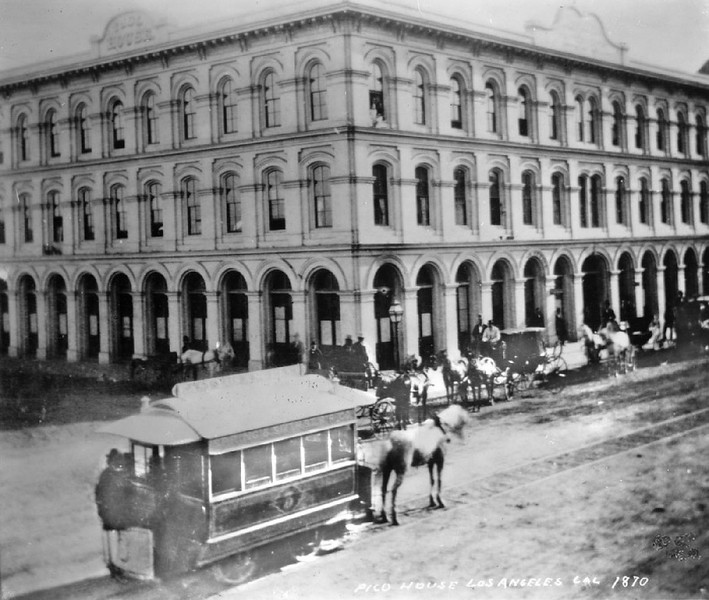 Exterior of the Pico House hotel in Los Angeles, ca.1870