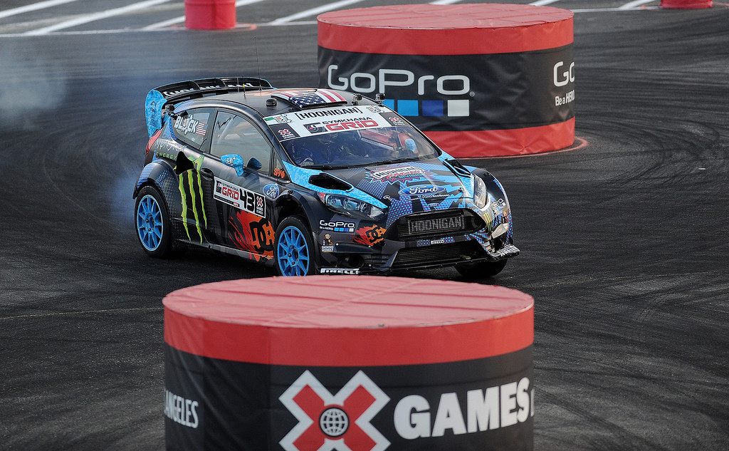 . Ken Block races during the X Games Gymkhana Grid finals at Irwindale Speedway on Saturday, Aug. 3, 2013 in Irwindale, Calif.   (Keith Birmingham/Pasadena Star-News)