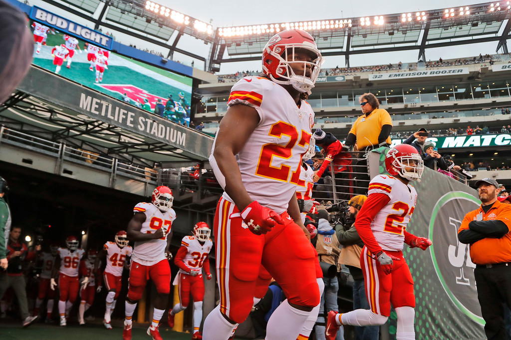 . Kansas City Chiefs\' Kareem Hunt runs on the field before an NFL football game between the Kansas City Chiefs and the New York Jets, Sunday, Dec. 3, 2017, in East Rutherford, N.J. (AP Photo/Julie Jacobson)