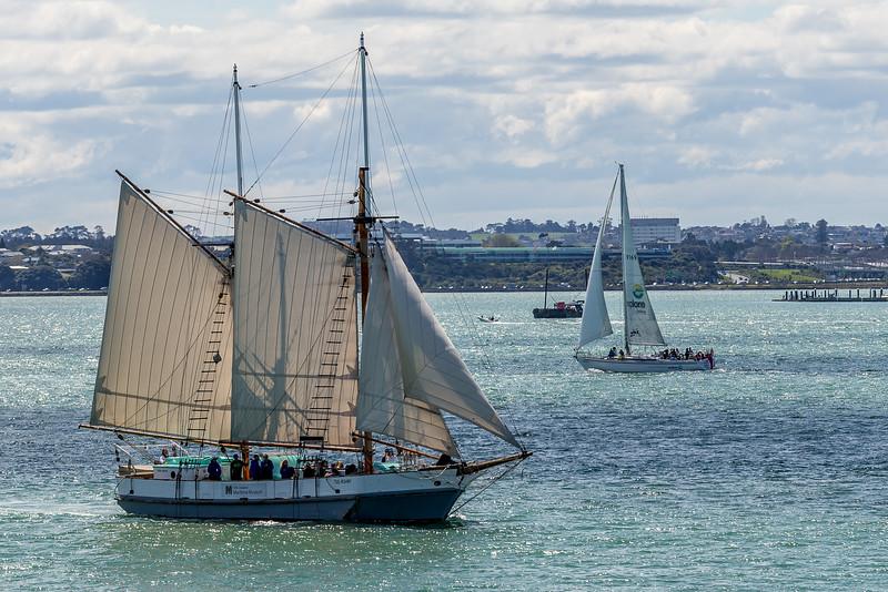 Das Segelschiff des Maritime Museums unterwegs