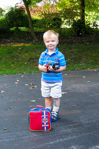 Ethan is ready for his 1st day of pre-school with some anxiety reducing toys.  :-)