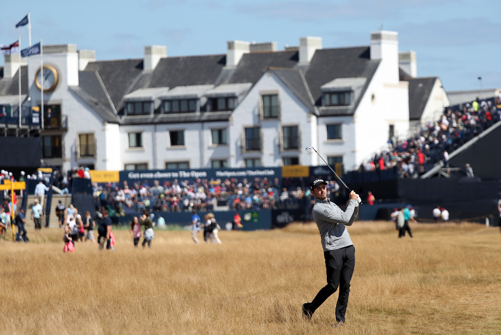 . Patrick Cantlay of the US plays a shot during a practice round of the British Open Golf Championship in Carnoustie, Scotland, Wednesday July 18, 2018. (AP Photo/Peter Morrison)