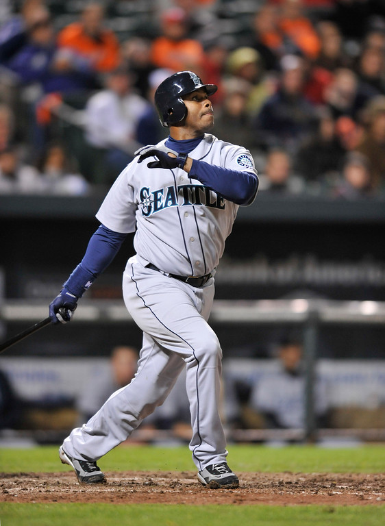 . Seattle Mariners Ken Griffey Jr. against the Baltimore Orioles  Tuesday, May 11, 2010 in Baltimore.(AP Photo/Gail Burton)
