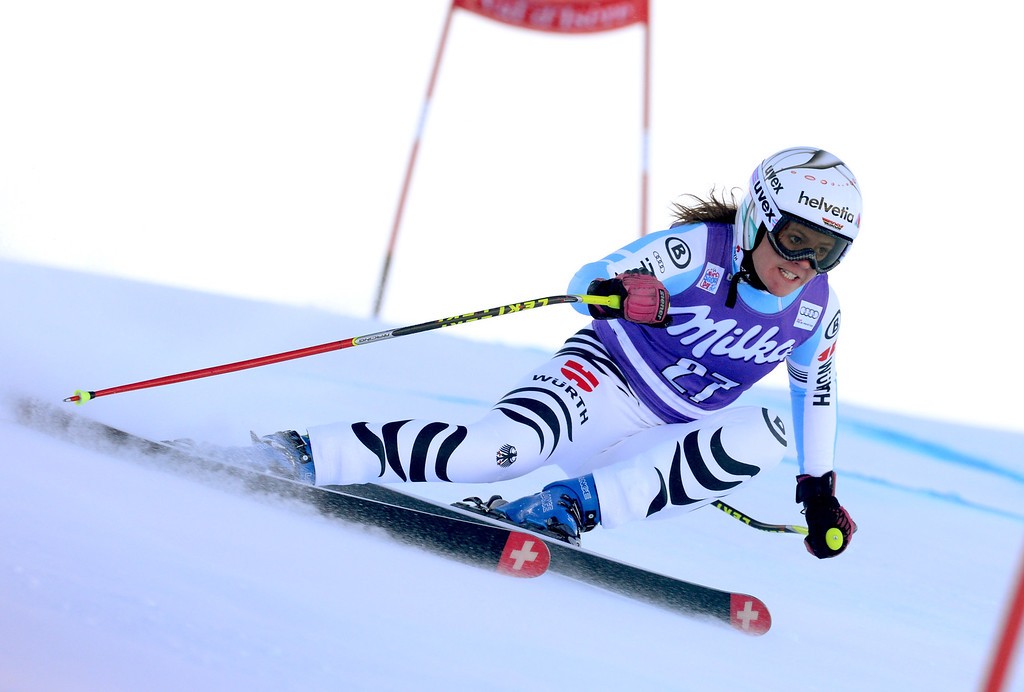 . Viktoria Rebensburg of Germany speeds on her way to take second place an alpine ski, women\'s  World Cup Downhill in Val d\'Isere, France, Saturday, Dec. 20, 2014. (AP Photo/Pier Marco Tacca)