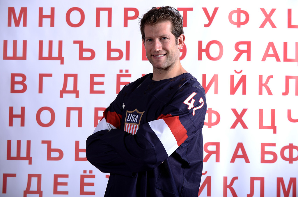 . Hockey player David Backes poses for a portrait during the USOC Media Summit ahead of the Sochi 2014 Winter Olympics on September 29, 2013 in Park City, Utah.  (Photo by Harry How/Getty Images)