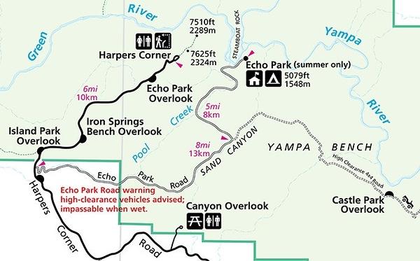 Dinosaur National Monument (Echo Park Scenic Drive Map)