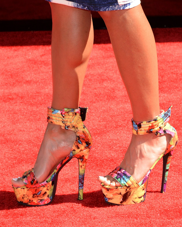 . Athlete Lolo Jones (shoe detail) attends the BET AWARDS \'14 at Nokia Theatre L.A. LIVE on June 29, 2014 in Los Angeles, California.  (Photo by Earl Gibson III/Getty Images for BET)