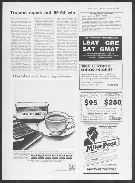 Daily Trojan, Vol. 93, No. 14, January 31, 1983