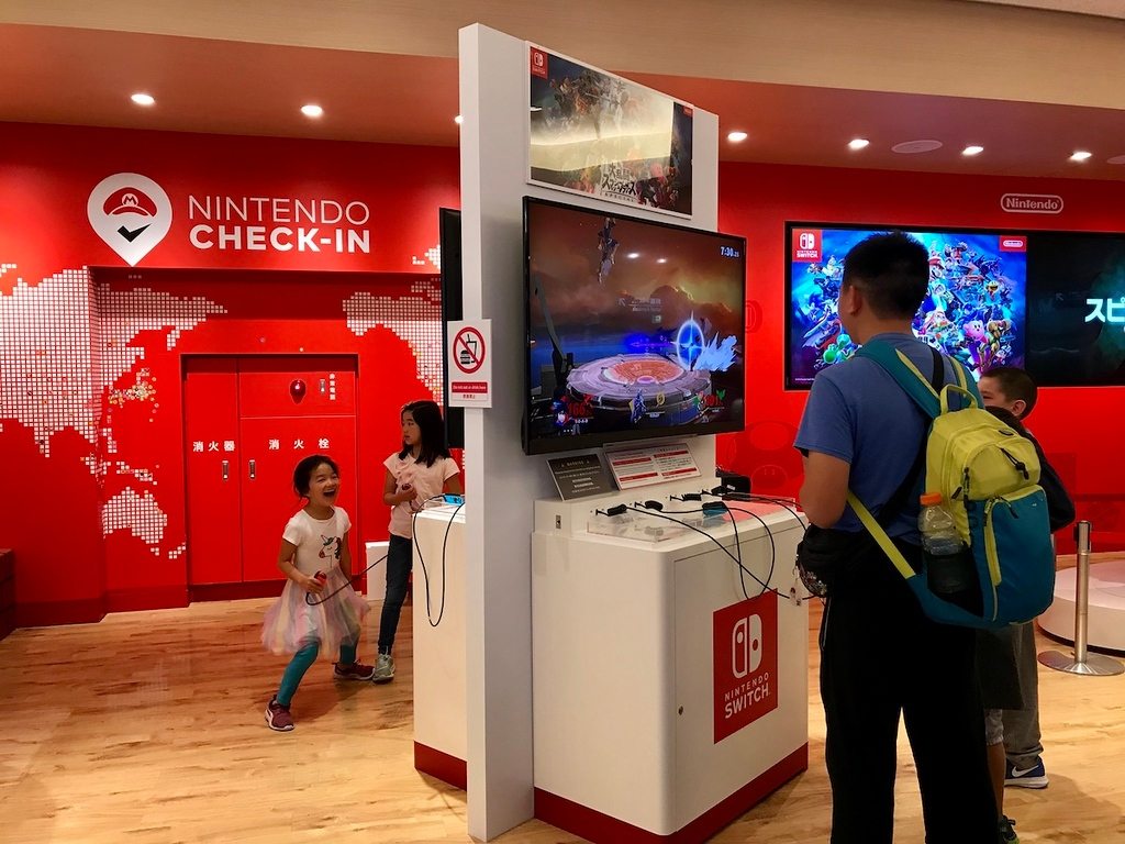 It's hard to miss the Nintendo Check-In area.