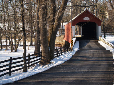 Knecht's Bridge in Snow, Bucks County