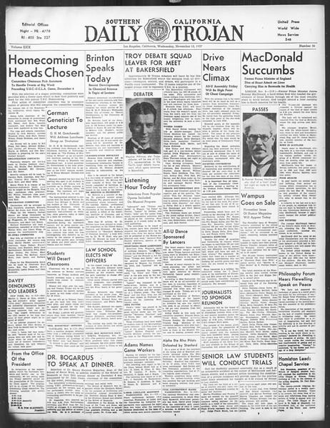 Daily Trojan, Vol. 29, No. 38, November 10, 1937