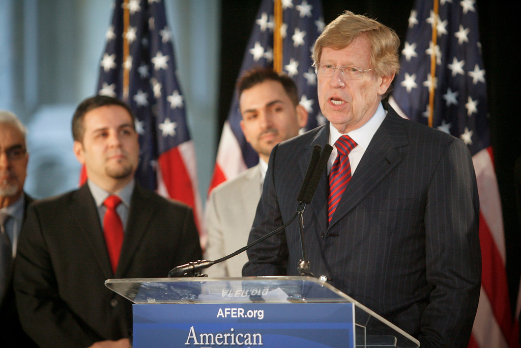 . Ted Olson, AFER Lead C0-Counsel talks about the appeals court ruling that Prop 8 is unconstitutional at a press conference in Los Angeles Tuesday Morning.  In background are plaintiffs Jeff Zarrillo, left, and Paul Katami, both of Burbank, CA.   Photo by David Crane/Los Angeles Daily News.