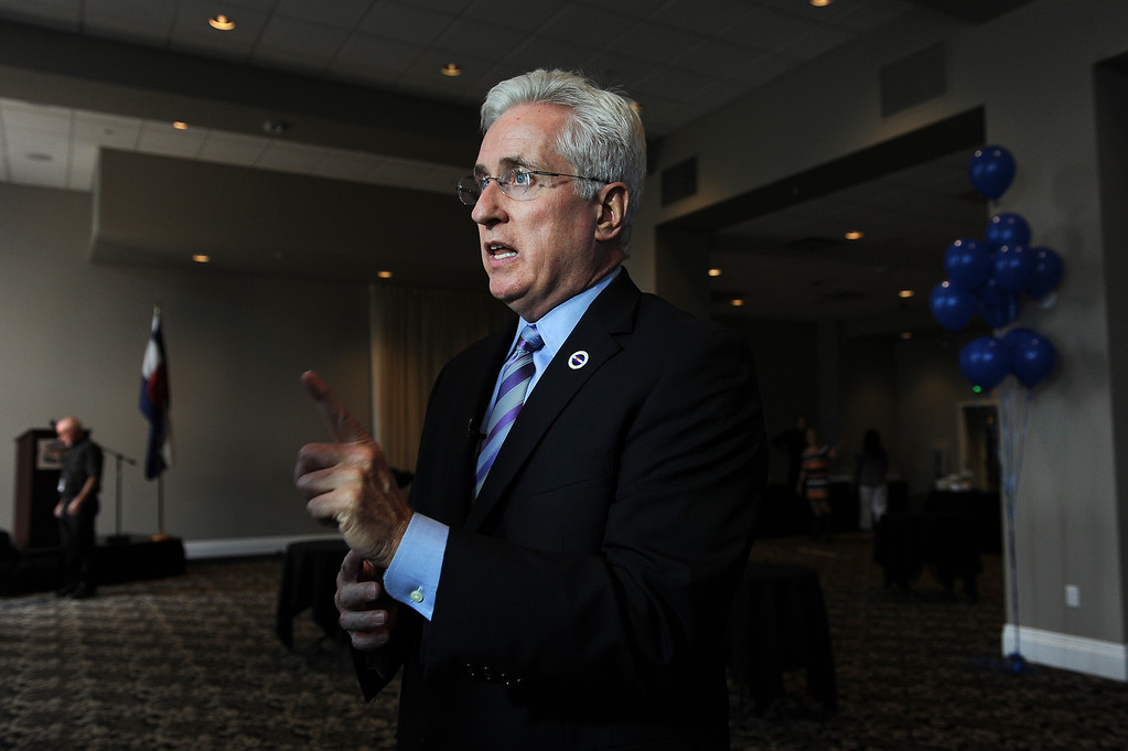. COLORADO SPRINGS, CO - SEPTEMBER 10:  Colorado State senator John Morse speaks to the media at his election night party at the Wyndham Hotel in Colorado Springs, CO on September 10, 2013. The senator faces a recall after he supported gun control legislation that angered his constituents.  (Photo By Helen H. Richardson/ The Denver Post)
