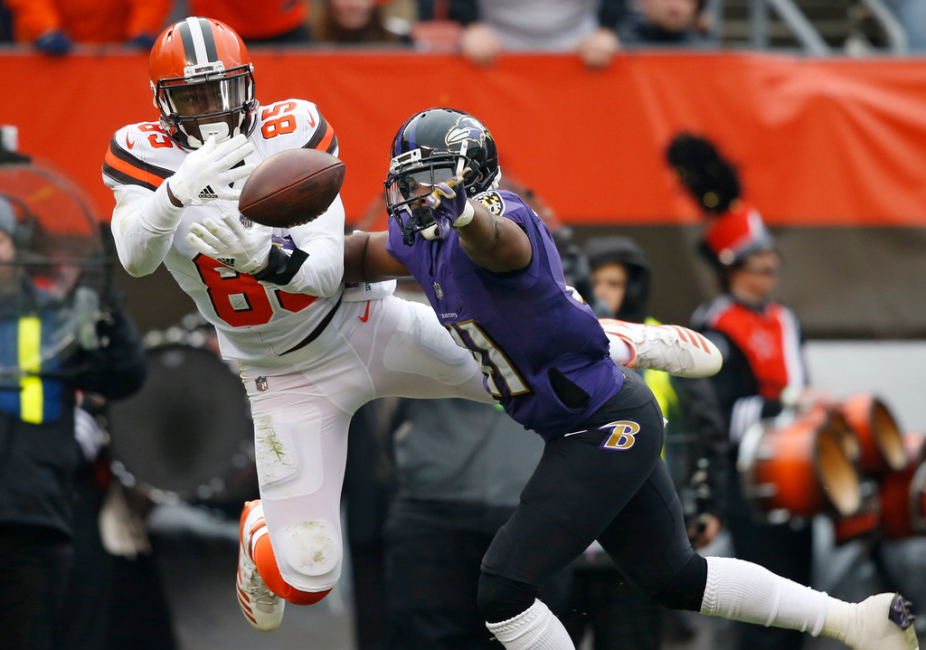 . Baltimore Ravens cornerback Anthony Levine, right, breaks up a pass intended for Cleveland Browns tight end David Njoku (85) during the first half of an NFL football game, Sunday, Dec. 17, 2017, in Cleveland. (AP Photo/Ron Schwane)