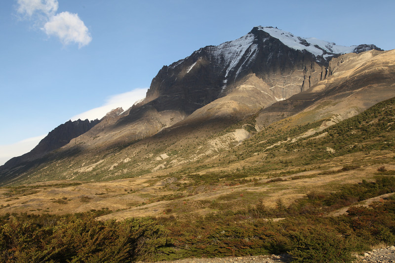 Paine Masif in the early morning, Patagonian light. 10 kms to Base de Torres del Paine.