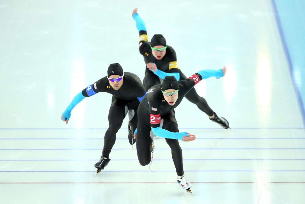 . Brian Hansen (front), Joey Mantia (middle) and Jonathan Kuck (top) of the United States compete during the Men\'s Team Pursuit Final D Speed Skating event on day fifteen of the Sochi 2014 Winter Olympics at  at Adler Arena Skating Center on February 22, 2014 in Sochi, Russia.  (Photo by Ryan Pierse/Getty Images)