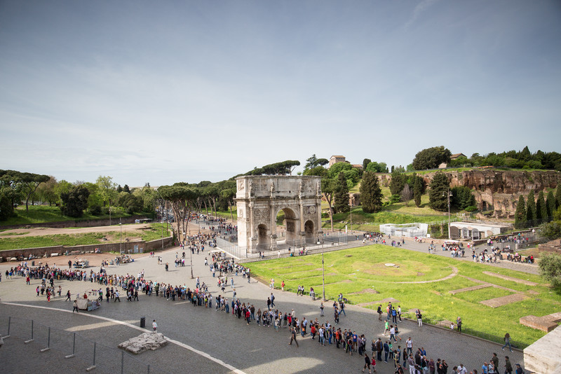 A view of the Arch of Constantine (c. 315 AD), with the lines to enter the Colosseum in the foreground - thankfully, we arrived early enough to skip the lines.