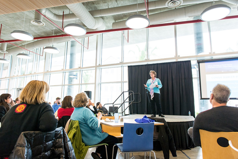 Dr. Connie Barker, during her FACTalks presentation, in the TAMUCC Dining Hall.