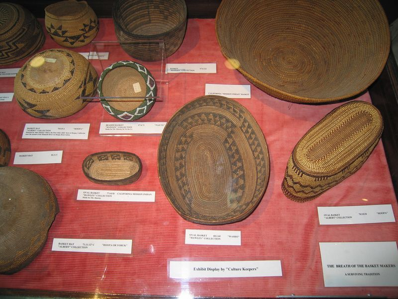 Tongva basketry exhibit, Cooper Regional History Museum, Upland, 2 Jul 2005.