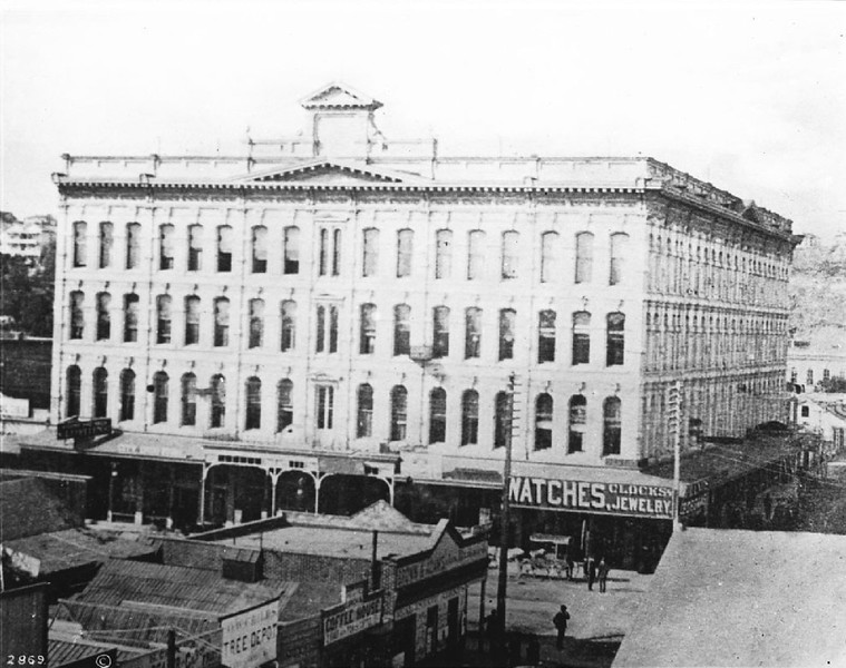 Nadeau Hotel, corner of First Street and Spring Street, Los Angeles, ca.1885