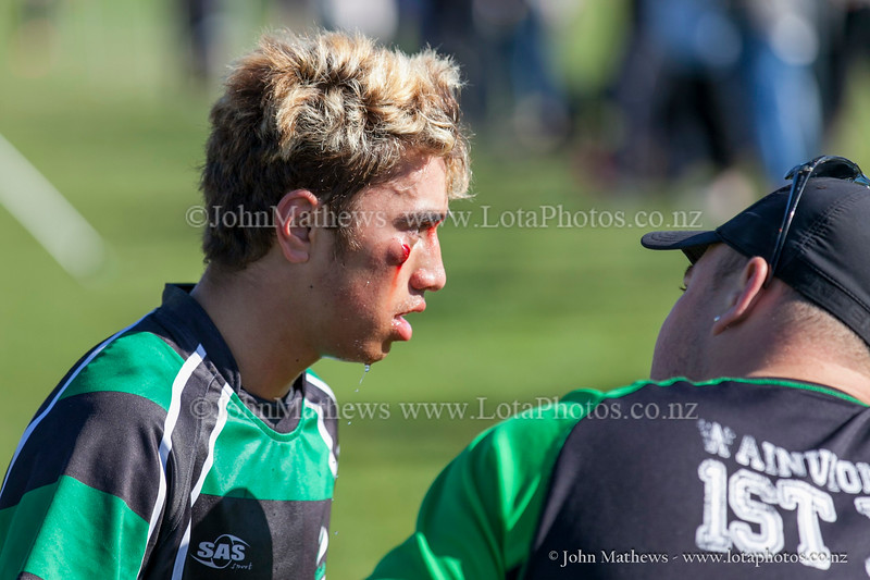 Action from the First XV rugby match between HIBs and Wainuiomata College  played at HIBs , Upper Hutt, New Zealand on 9 May 2015. Copyright: John Mathews