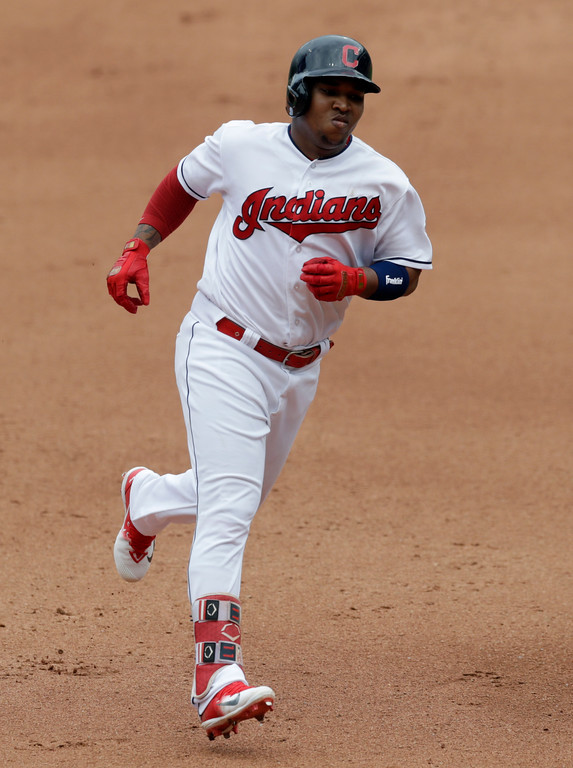 . Cleveland Indians\' Jose Ramirez runs the bases after hitting a solo home run off Chicago White Sox relief pitcher Chris Volstad in the fourth inning of a baseball game, Wednesday, May 30, 2018, in Cleveland. (AP Photo/Tony Dejak)