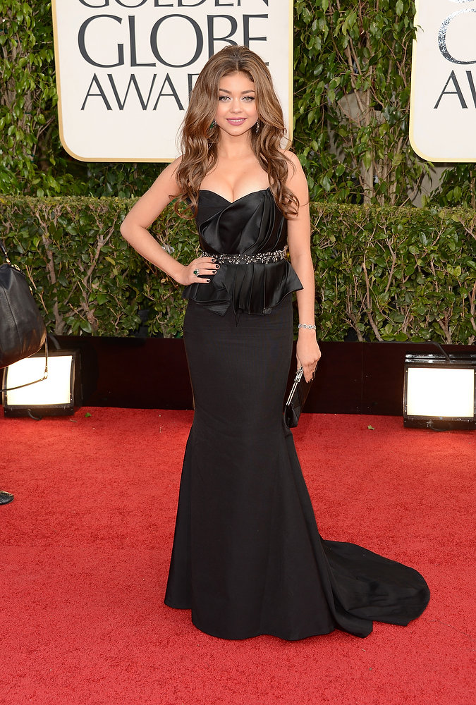 . Actress Sarah Hyland arrives at the 70th Annual Golden Globe Awards held at The Beverly Hilton Hotel on January 13, 2013 in Beverly Hills, California.  (Photo by Jason Merritt/Getty Images)