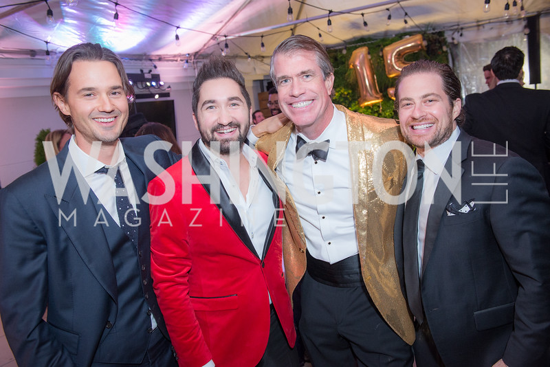 Max Newland, Jason Zuccari, Scott Stewart, Ben Firestone,  Capitol Seniors Housing, 15th Anniversary Party.  November 8, 2018. Photo by Ben Droz.