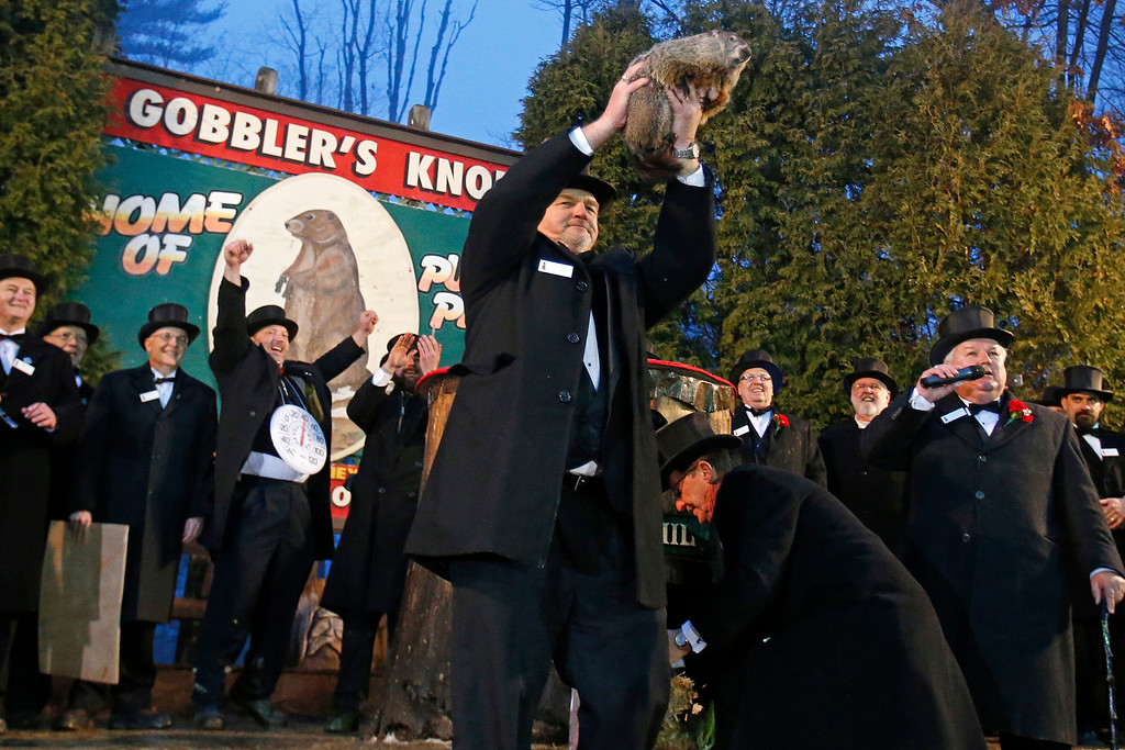. Punxsutawney Phil is held by handler John Griffiths after emerging from his burrow on Gobblers Knob in Punxsutawney, Pa., to see his shadow and forecast six more weeks of winter weather. (AP Photo/Gene J. Puskar)