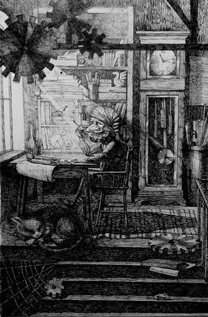 """Kobold in his workshop"" (paper, ink, dip pen by Marina Fedorova"