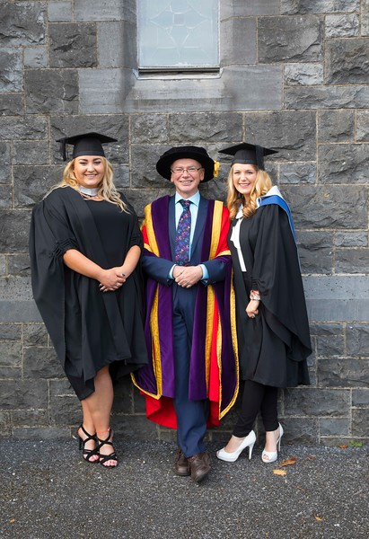 03/11/2016. Waterford Institute of Technology (WIT) Conferring Ceremonies November 2016:  Pictured are Nicola Marnell, Kilmanagh, Kilkenny and Shavanna Morris of Kilmore. Co. Wexford who Graduated B.A. in Applied Social Studies in Social Care with Prof. Willie Donnelly, President of WIT. Picture: Patrick Browne