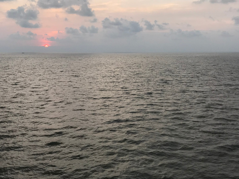 Sunset leaving Cochin, India (Kochi)