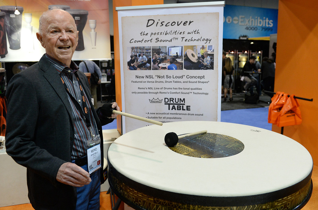 ". Remo Belli, owner of Remo drumheads and percussion instruments, shows their NSL ""Not So Loud\"" drum concepts designed for education and therapy during The NAMM (National Association of Music Merchants) Show, the world wide music trade show, at the Anaheim Convention Center in Anaheim on Friday January 24, 2014. NAMM is a music trade show drawing retailers and other industry people to Anaheim for four days of everything music. (Staff Photo by Keith Durflinger/San Gabriel Valley Tribune)"