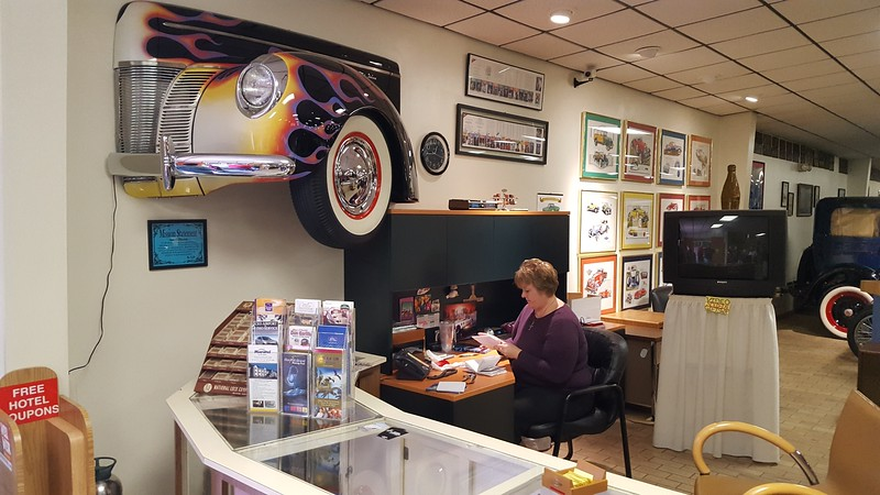 Our Hostess at the  Antique Car Museum.jpg