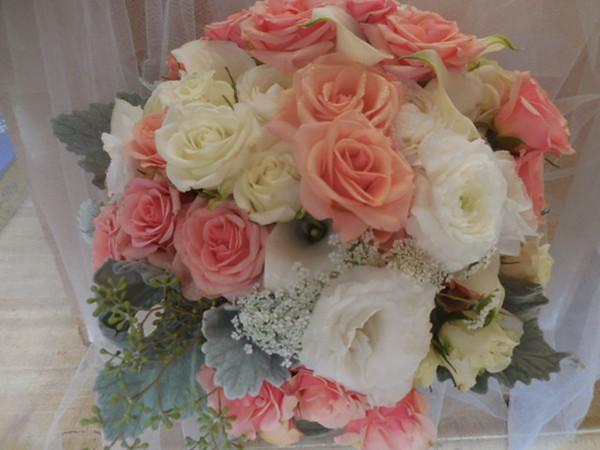 Peach, white roses, Queen Anne's lace, grey miller , hydrangea, callas, eucalyptus  $135-$145