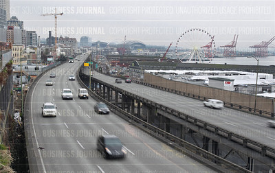 Alaskan Way Viaduct of State Route 99 along the Elliott Bay waterfront in Seattle, Wash.
