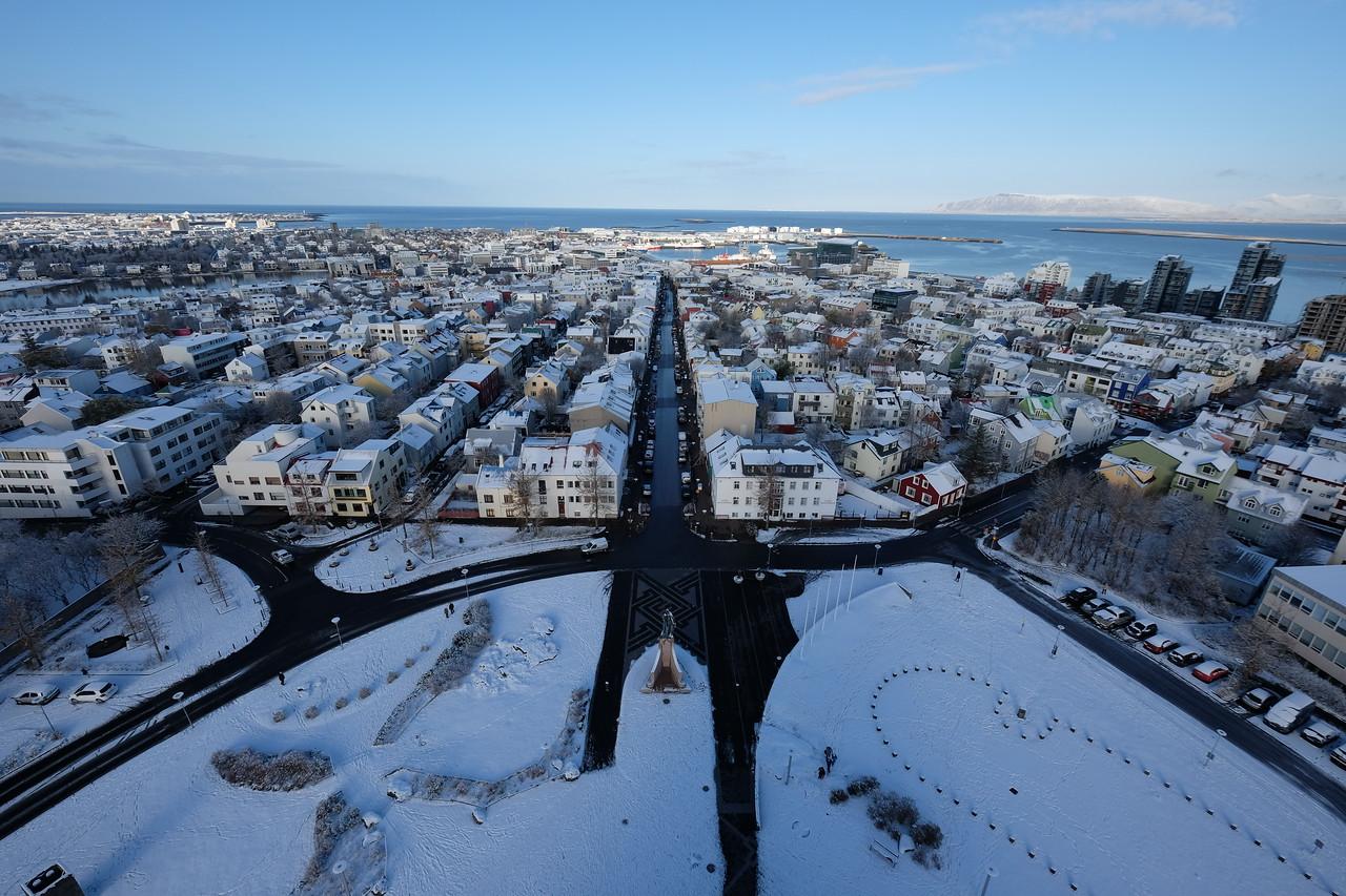 Aerial view over Reykjavik