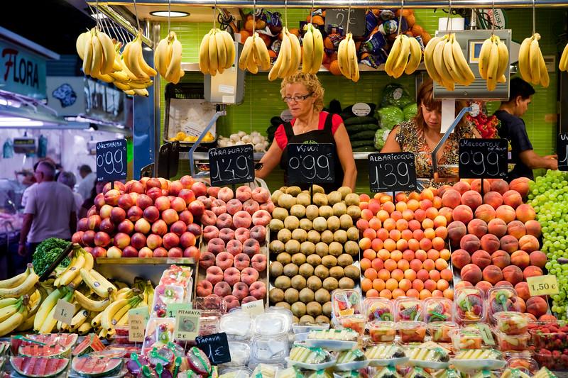 Puesto de frutas, Mecado de la Boquería, Barcelona