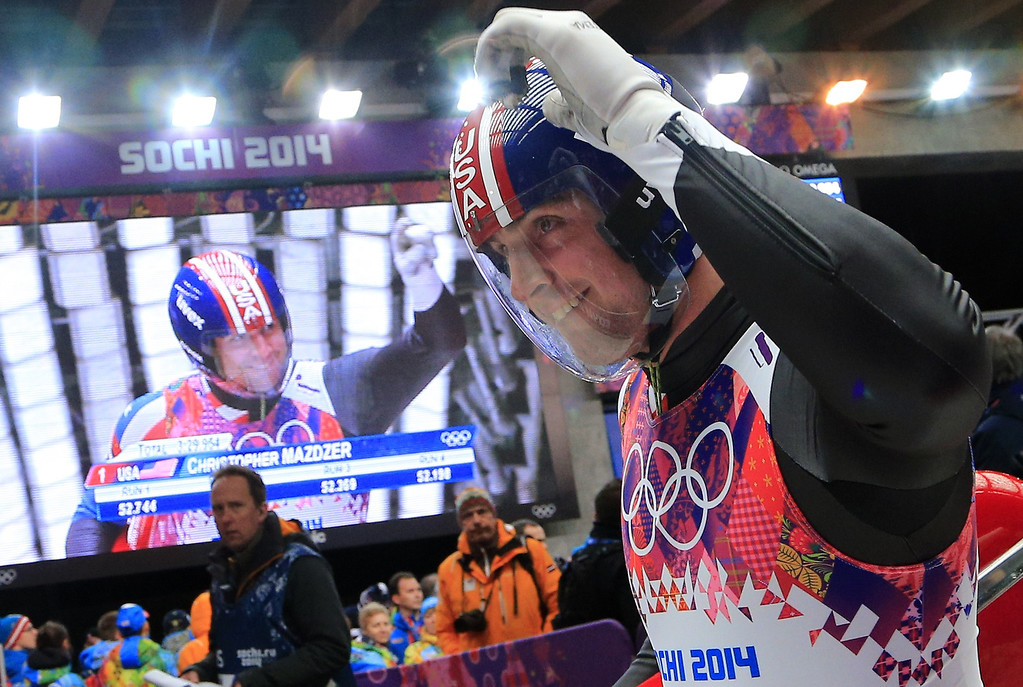 . US Christopher Mazdzer celebrates finishing his run in the Men\'s Luge final at the Sanki Sliding Center during the Sochi Winter Olympics on February 9, 2014.          ALEXANDER KLEIN/AFP/Getty Images