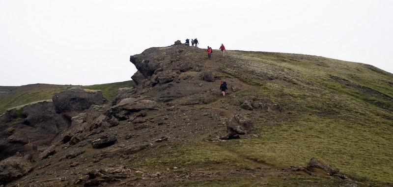 Skundi kominn yfir Veðurháls á leið niður í Strútsskála.