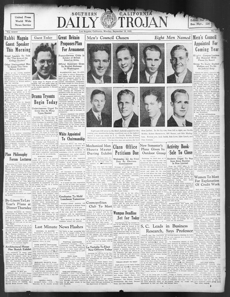 Daily Trojan, Vol. 24, No. 7, September 19, 1932