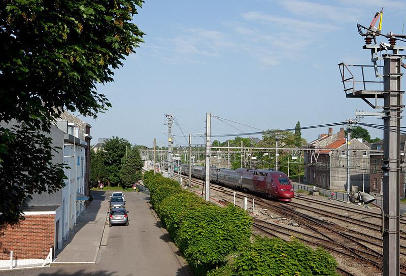 Essential eastern Belgium. A westbound Thalys in Welkenraedt.