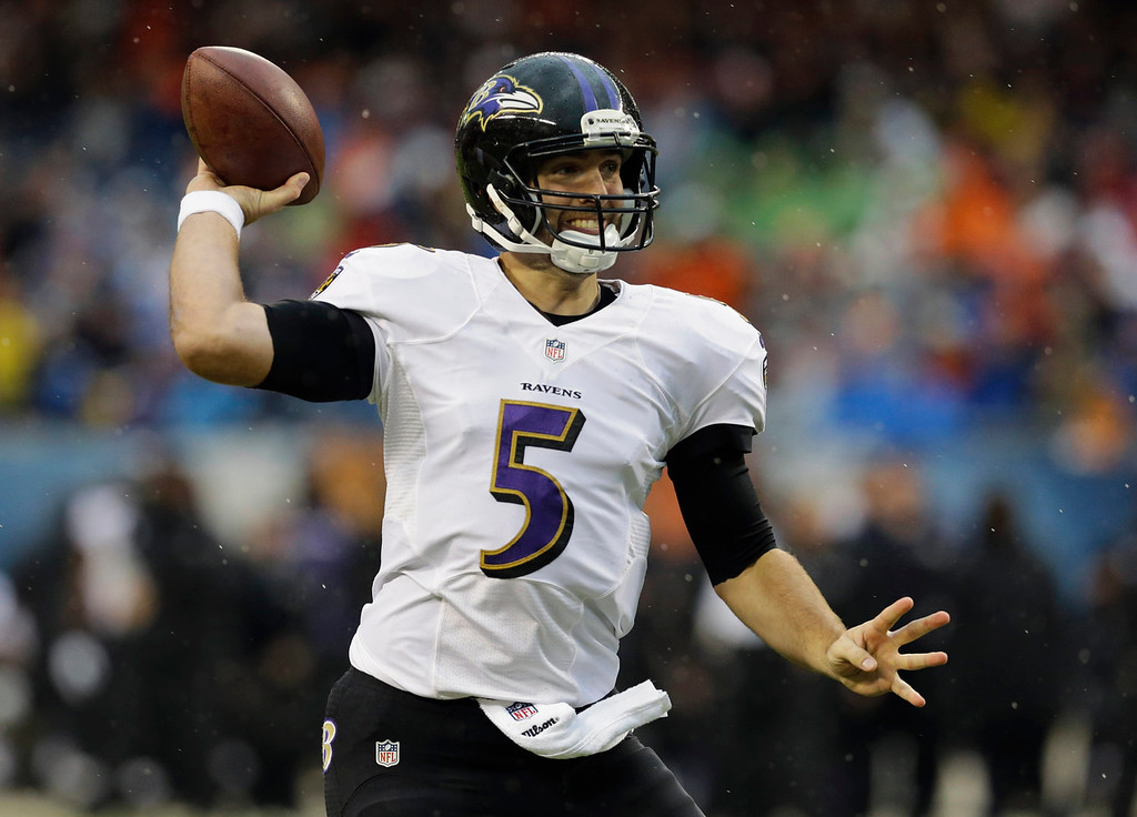 . Baltimore Ravens quarterback Joe Flacco (5) throws a pass during the first half of an NFL football game against the Chicago Bears, Sunday, Nov. 17, 2013, in Chicago. (AP Photo/Nam Y. Huh)