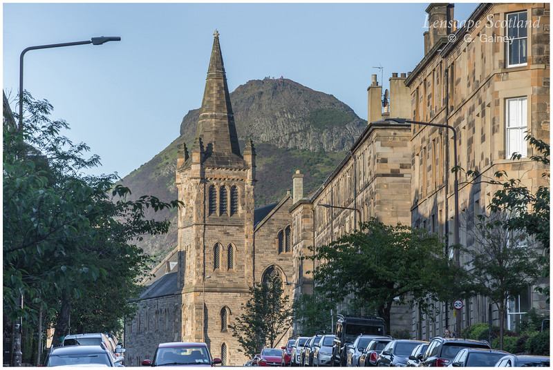Arthur's Seat behind the spire of Saint Margaret's and Saint Leonard's RC Church