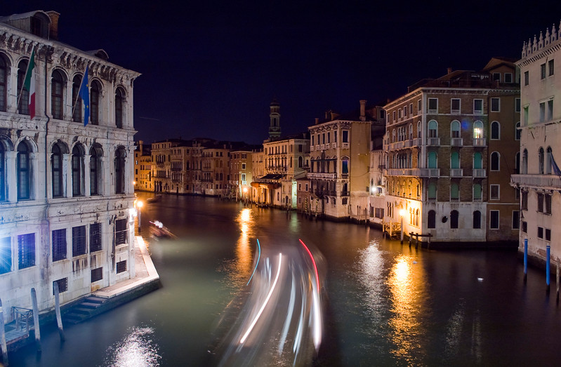 Night traffic on Canal Grande from Rialto bridge, Venice, Italy